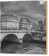 Paris Black And White Wood Print
