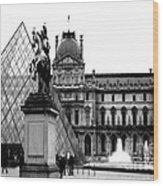 Paris Black And White Photography - Louvre Museum Pyramid Black White Architecture Landmark Wood Print
