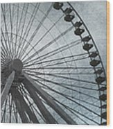 Paris Blue Ferris Wheel Wood Print