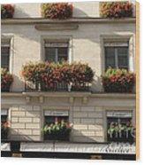Paris Cartier Window Boxes - Paris Cartier Windows And Flower Boxes - Cartier Paris Building  Wood Print