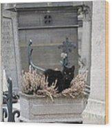 Paris Cemetery Cat - Le Chats Noir - Pere Lachaise - Black Cat On Grave Cemetery Art Wood Print by Kathy Fornal