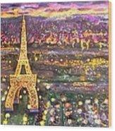 Paris City Of Lights Wood Print