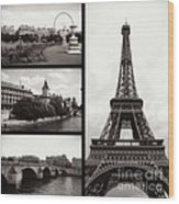 Paris Collage - Black And White Wood Print
