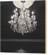Paris Crystal Chandelier - Paris Black And White Chandelier - Sparkling Elegant Chandelier Opulence  Wood Print