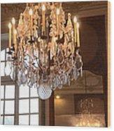 Paris Crystal Chandelier - Paris Rodin Museum Chandelier - Sparkling Crystal Chandelier Reflection Wood Print