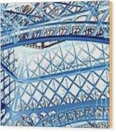 Paris Design In Blue Wood Print