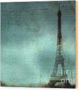 Paris Dreamy Eiffel Tower Teal Aqua Abstract Art Photo - Paris Eiffel Tower Painted Photograph Wood Print by Kathy Fornal
