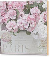 Shabby Chic Paris Pink Flowers, Parisian Shabby Chic Paris Flower Box - Paris Floral Decor Wood Print