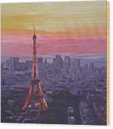 Paris Eiffel Tower At Dusk Wood Print