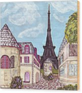Paris Eiffel Tower Inspired Impressionist Landscape Wood Print