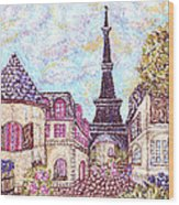 Paris Eiffel Tower Skyline Inspired Pointillist Landscape Wood Print