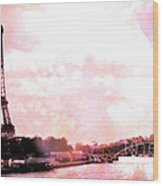 Paris Eiffel Tower Pink - Dreamy Pink Eiffel Tower With Hot Air Balloon Wood Print