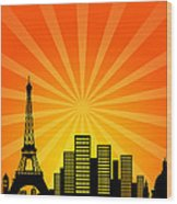 Paris France Downtown City Skyline Wood Print