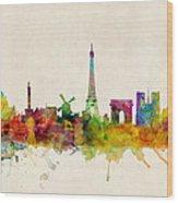 Paris France Skyline Panoramic Wood Print