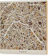 Paris France Street Map Wood Print