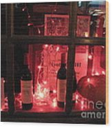 Paris Holiday Christmas Wine Window Display - Paris Red Holiday Wine Bottles Window Display  Wood Print by Kathy Fornal