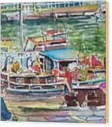 Paris House Boat Wood Print