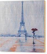 Paris In Rain Wood Print