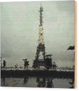 Paris In The Rain Wood Print