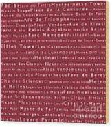 Paris In Words Red Wood Print
