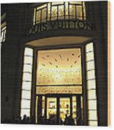 Paris Louis Vuitton Boutique Store Front - Paris Night Photo Louis Vuitton - Champs Elysees  Wood Print