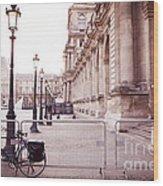 Paris Louvre Museum Street Lamps Bicycle Street Photo - Paris Romantic Louvre Architecture  Wood Print