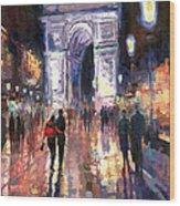 Paris Miting Point Arc De Triomphie Wood Print