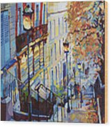 Paris Monmartr Steps Wood Print