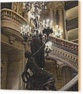 Paris Opera House Grand Staircase And Chandeliers - Paris Opera Garnier Statues And Architecture  Wood Print