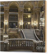 Paris Opera House Interior Romantic Staircase Balconies And Architecture  Wood Print by Kathy Fornal