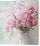 Paris Peonies Roses Shabby Chic Art - Romantic Paris Peonies And Roses Impressionistic Floral Art Wood Print