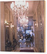 Paris Pink Hotel Lobby Interiors Pink Posh Hotel Interior Arch And Chandelier Hallway Wood Print
