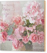 Paris Shabby Chic Dreamy Pink Peach Impressionistic Romantic Cottage Chic Paris Flower Photography Wood Print