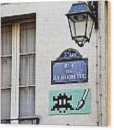 Paris Street Art - Space Invader Wood Print