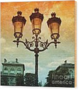 Paris Street Lamps With Textures And Colors Wood Print