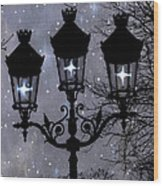 Paris Street Lights Lanterns - Paris Starry Night Dreamy Surreal Starlit Night Street Lamps Of Paris Wood Print by Kathy Fornal