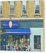Paris Style French Bistro Art Sidewalk Cafe Terrace  Antique Shop C Spandau Montreal City Paintings Wood Print