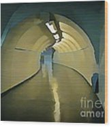 Paris Subway Connecting Tunnel Wood Print