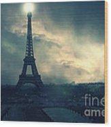 Paris Surreal Eiffel Tower Storm Clouds Sun Setting - Teal Aqua Dark Green Eiffel Tower Landscape Wood Print