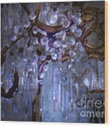 Paris Surreal Haunting Crystal Chandelier Mirrored Reflection - Dreamy Blue Crystal Chandelier  Wood Print