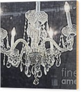 Paris Surreal Silver Crystal Chandelier - Paris Cafe Chandelier Art  Wood Print by Kathy Fornal