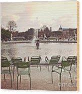 Paris Tuileries Garden Park Fountain Green Chairs - Paris Autumn Fall Tuileries - Autumn In Paris Wood Print
