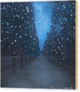 Paris Tuileries Trees - Blue Surreal Fantasy Sparkling Trees - Paris Tuileries Park Wood Print by Kathy Fornal