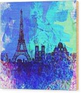 Paris Watercolor Skyline Wood Print