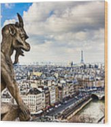 Parisian Gargoyle Admires The Skyline Wood Print