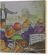 Parisian Hat Band Across From Notre Dame Cathedral Wood Print