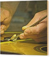 Parisian Luthier At Work Wood Print
