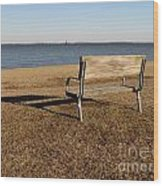 Park Bench At Sandy Point Wood Print