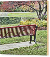 Park Bench By The Pond Wood Print