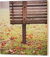 Park Bench In Autumn Wood Print